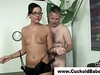 Femdom bitch sucks black cock in front of her cuckold hubby